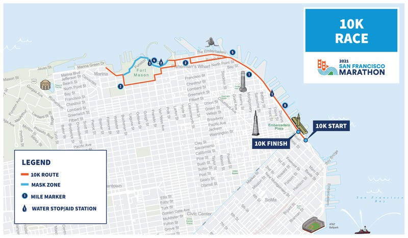 Masks will be required on the blue-highlighted portions of the 10K on Sunday.