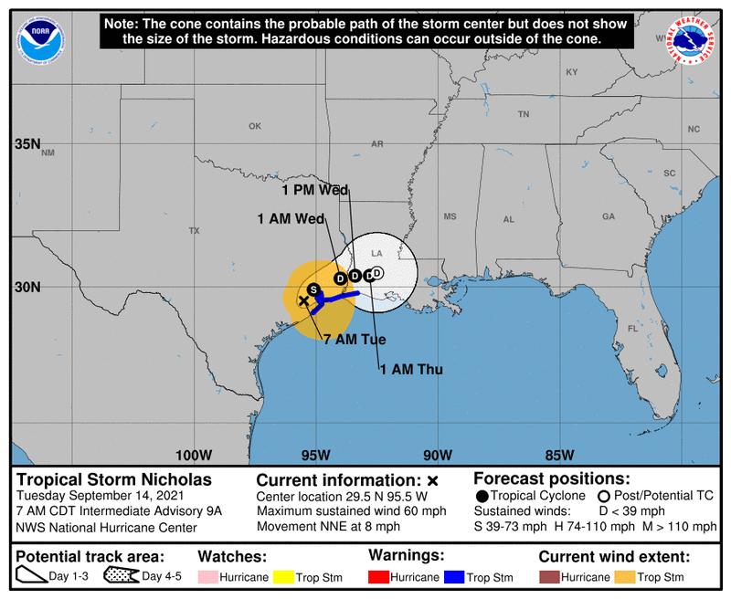 Nicholas makes landfall on upper Texas coast