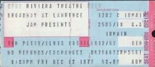 1977 Concert Ticket Stub Tom Petty/Elvis Costello