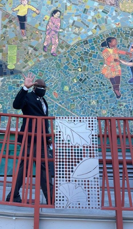 Dr. Vincent Matthews, Superintendent of San Francisco Unified School District, waves to reporters at Daniel Webster Elementary School on Wednesday, Sept. 8, 2021.