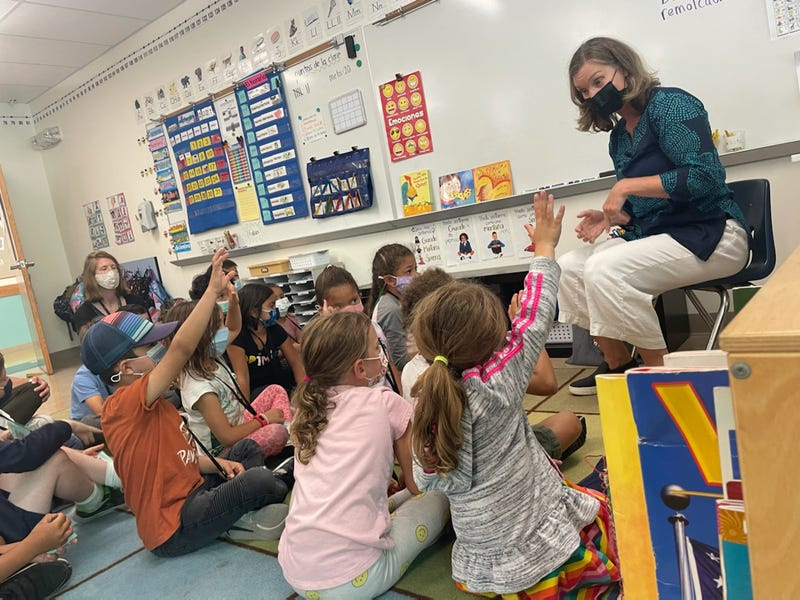 Susi Brennnan instructs first graders at Daniel Webster Elementary School in mindfulness meditation on Wednesday, Sept. 8, 2021.