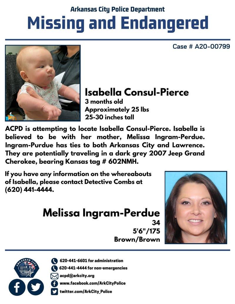baby missing; Arkansas City