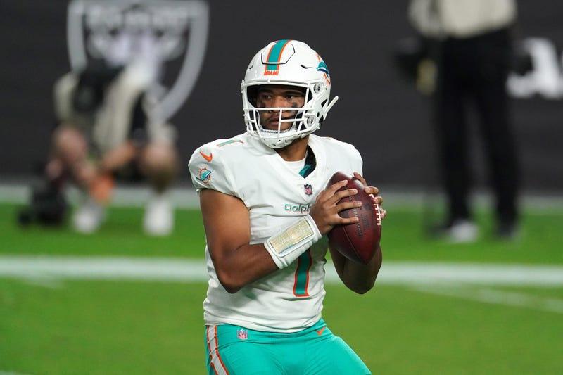 Tua Tagovailoa playing QB for the Miami Dolphins