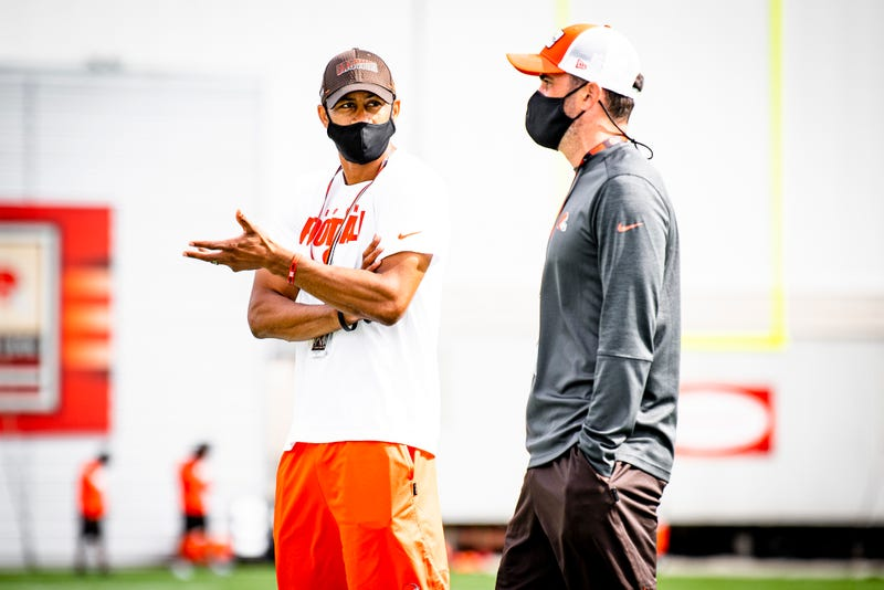 Cleveland Browns EVP of football operations Andrew Berry and head coach Kevin Stefanski