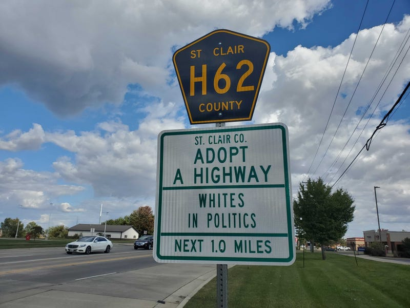 """""""Whites in Politics"""" displayed on an Adopt A Highway sign in St. Clair County Illinois"""