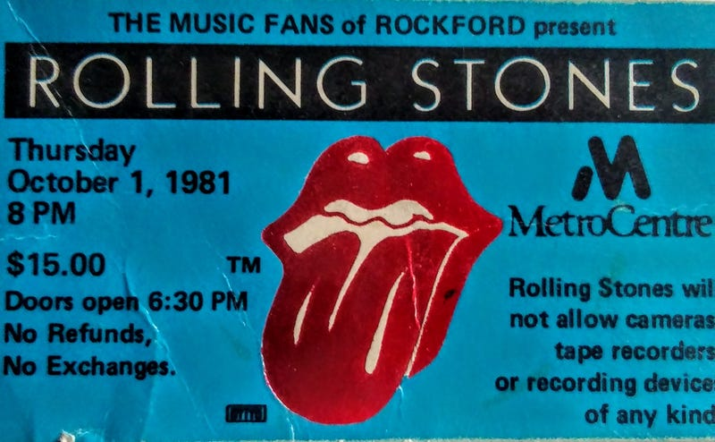 Rolling Stones Ticket Stub Rockford 1981