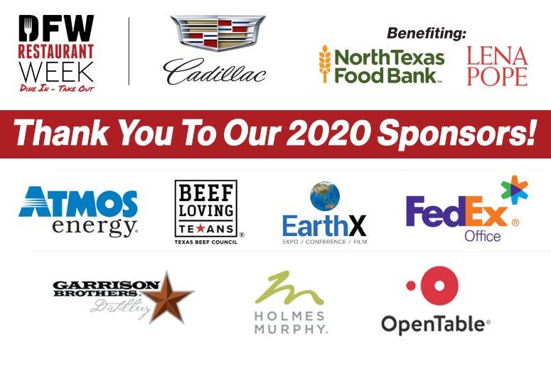 2020 DFW Restaurant Week Sponsors