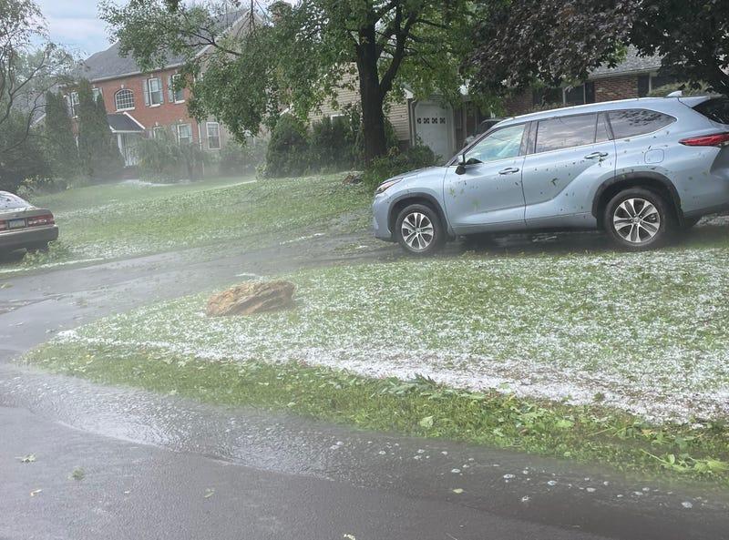 Hail that fell in metropolitan Philadelphia Wednesday.