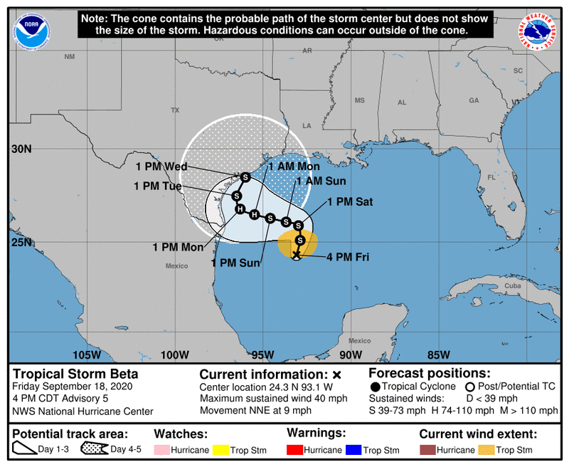 Tropical Storm Beta forms in southwestern Gulf of Mexico