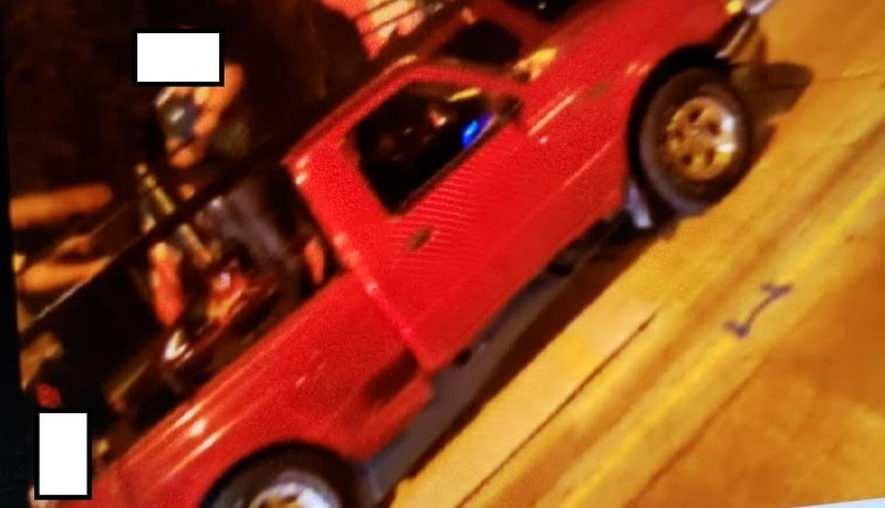 The red pickup truck wanted for a hit-and-run Sept. 15, 2020, in the 1100 block of South Michigan Avenue.