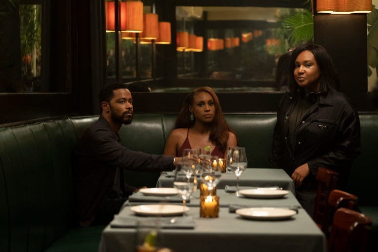 (from left) LaKeith Stanfield, Issa Rae and writer/director Stella Meghie on the set of