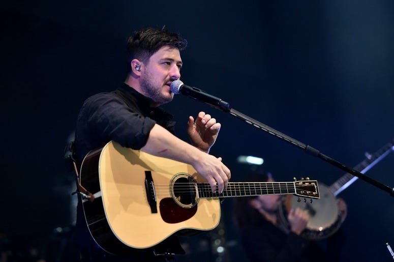 "Marcus Mumford of Mumford & Sons on stage at ""Not So Silent Night,"" a RADIO.COM Event at Barclays Center on December 05, 2019"