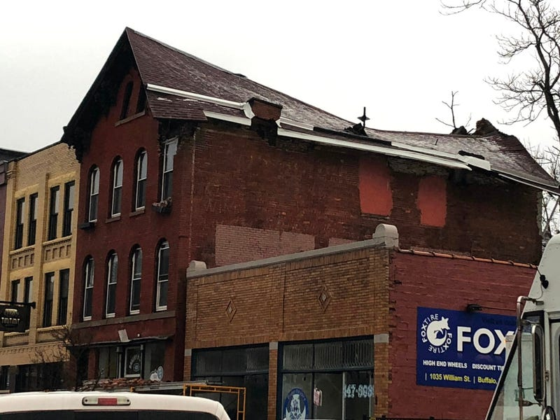 Roof collapse at 435 Ellicott Street in Downtown Buffalo. December 4, 2019 (WBEN Photo/Mike Baggerman)