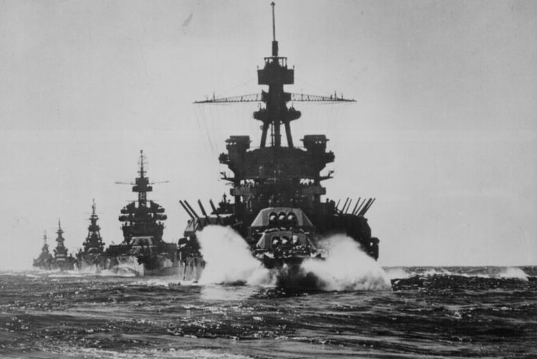 The USS Pennsylvania and other vessels move in line into Lingayen Gulf preceding the landing on Luzon in the Philippines in January 1945.