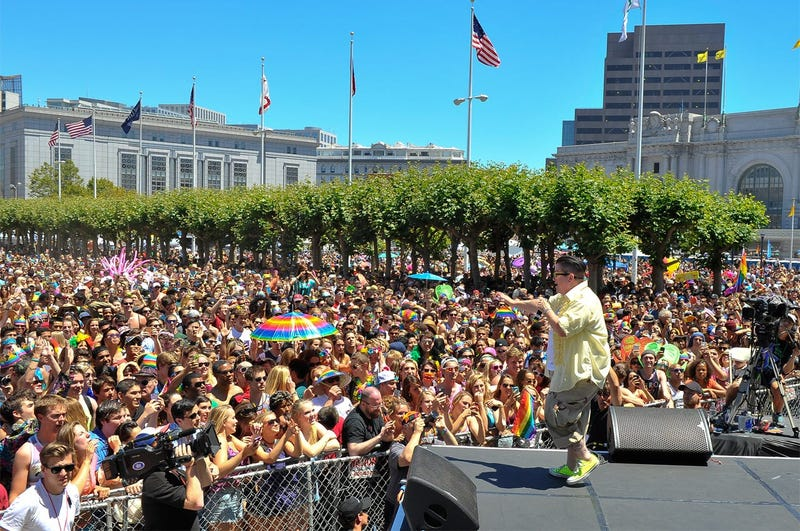 """SAN FRANCISCO, CA - JUNE 29: Lea DeLaria of Netflix's """"Orange Is The New Black"""" on stage in front of the crowd at San Francisco Pride Day on June 29, 2014 in San Francisco, California. (Photo by Steve Jennings/Getty Images for Netflix)"""