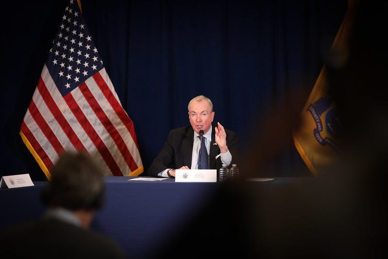 Governor Phil Murphy announces extensive social distancing measures to mitigate further spread of COVID-19 on March 16, 2020, in Trenton.
