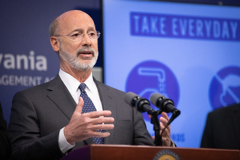 Governor Tom Wolf speaking to reporters.