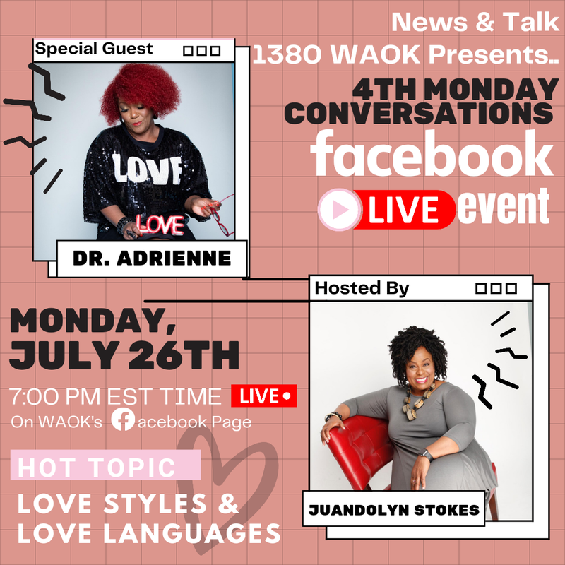 Join Number 1 Rated Host Juandolyn Stokes of On Point with Juandolyn Stokes for the 4th Monday Conversations this Monday, July 26, 2021!