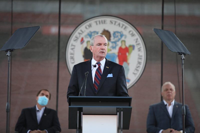 Governor Phil Murphy delivers his revised Fiscal Year 2021 Budget Address at SHI stadium in Rutgers University on Tuesday, August 25, 2020