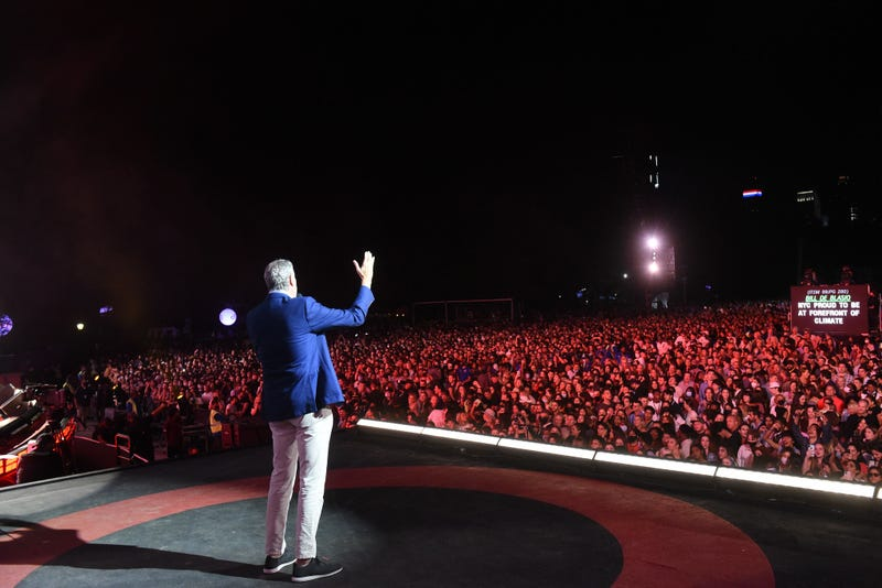 Mayor Bill de Blasio speaks at the Global Citizens concert on the Great Lawn in Central Park on Saturday, September 25, 2021.
