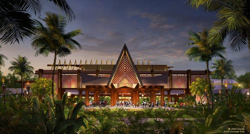 This artist rendering highlights the dramatic new porte cochere in development for Disney's Polynesian Village Resort at Walt Disney World Resort in Lake Buena Vista, Fla.