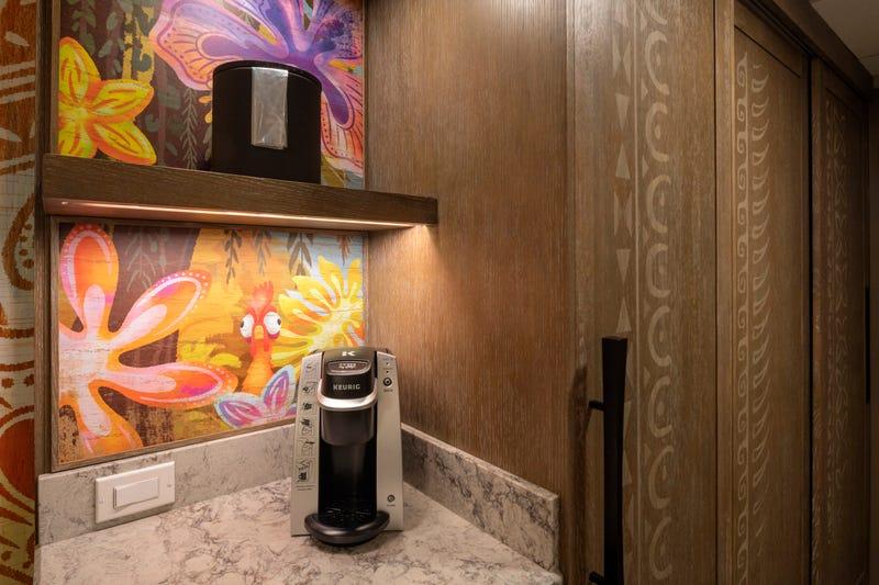"A guest room inside Disney's Polynesian Village Resort at Walt Disney World Resort in Lake Buena Vista, Fla., features decorations inspired by the Walt Disney Animation Studios film ""Moana."""