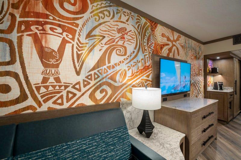 "A guest room inside Disney's Polynesian Village Resort at Walt Disney World Resort in Lake Buena Vista, Fla., features wallpaper inspired by the Walt Disney Animation Studios film ""Moana."""