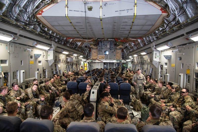 82nd Airborne board a C-17 Globemaster III aircraft at Camp Taji, Iraq
