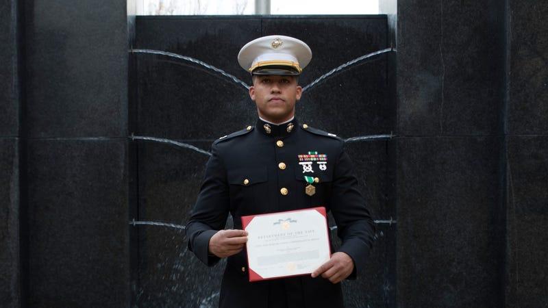 Quick-thinking Marine honored for saving life of car crash victim