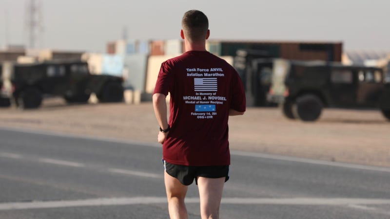 Soldiers in Kuwait run marathon to honor memory of Medal of Honor winner