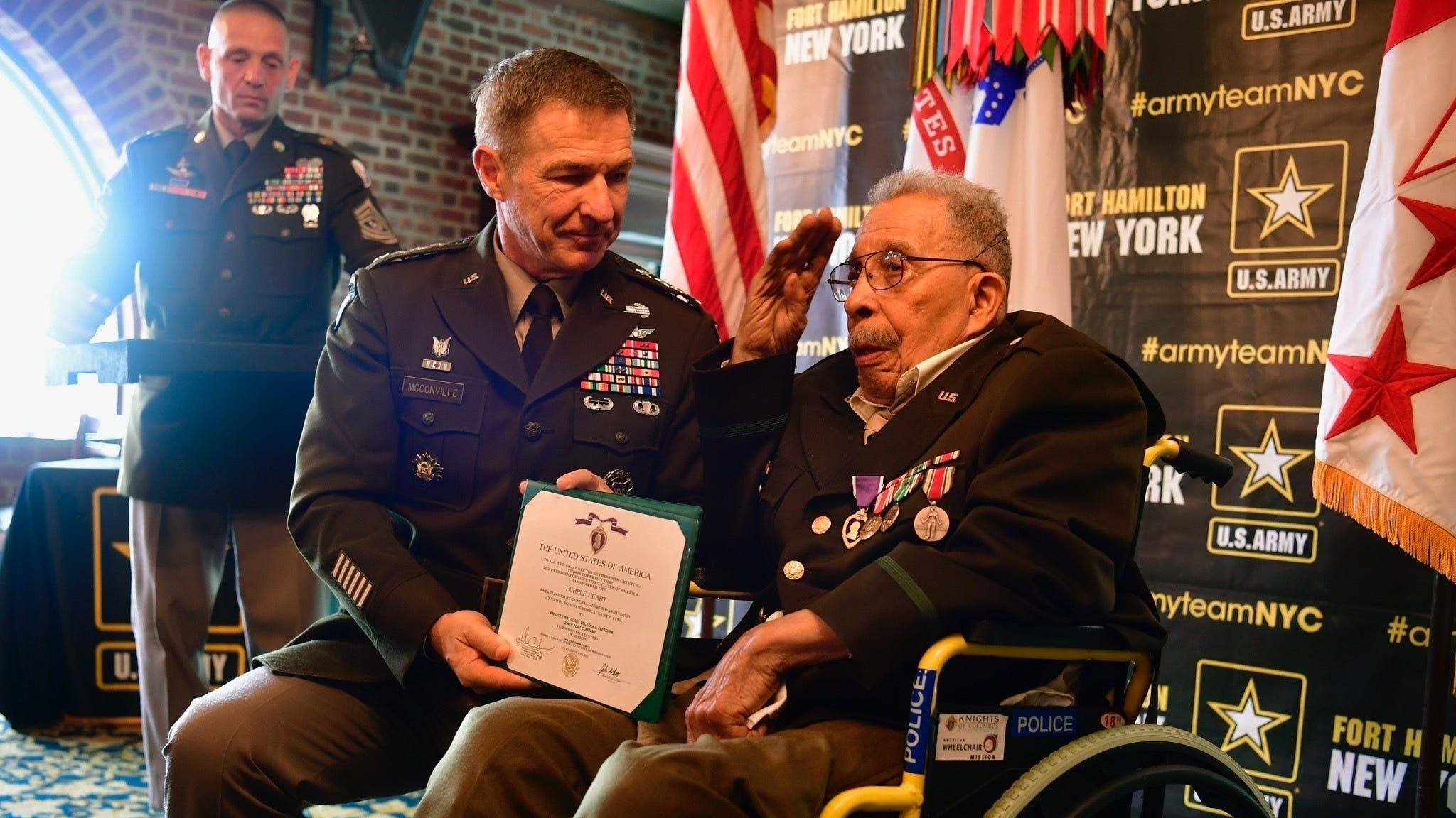 U.S. Army awards purple heart to 99-year-old World War II vet