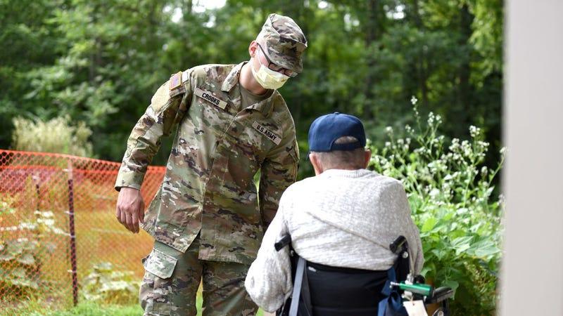 National Guard work with veterans at the Michigan Veteran Homes