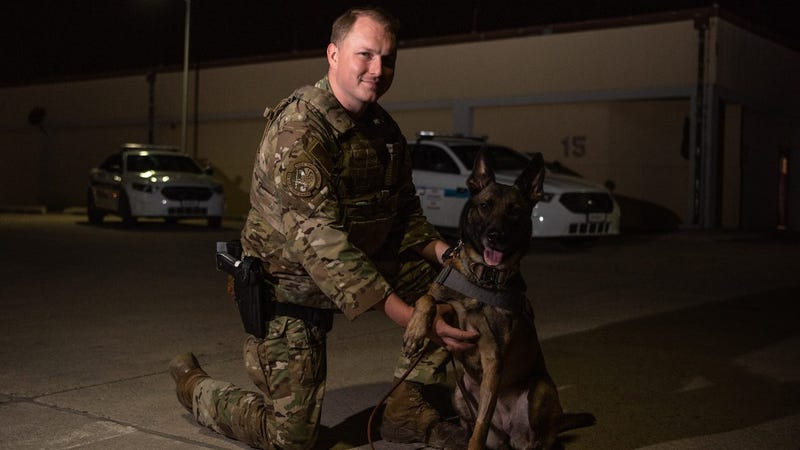 Airman and MWD are partners in crime... prevention