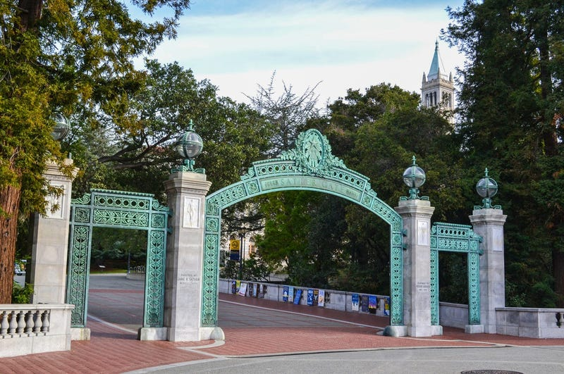 Sather Gate entrance to the University of California, Berkeley. The UC Berkeley campus is located in Berkeley, CA, just outside of San Francisco.