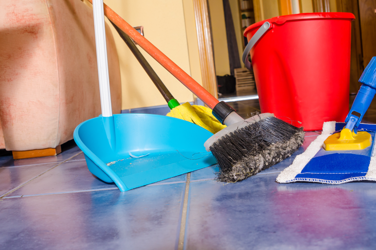 broom, dust pan and bucket