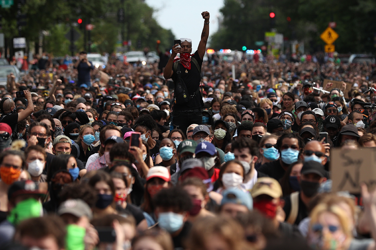 hundreds of demonstrators march to protest against police brutality demonstrators march to protest against police brutality and the death of George Floyd, on June 2, 2020 in Washington, DC. Protests continue to be held in cities throughout the country