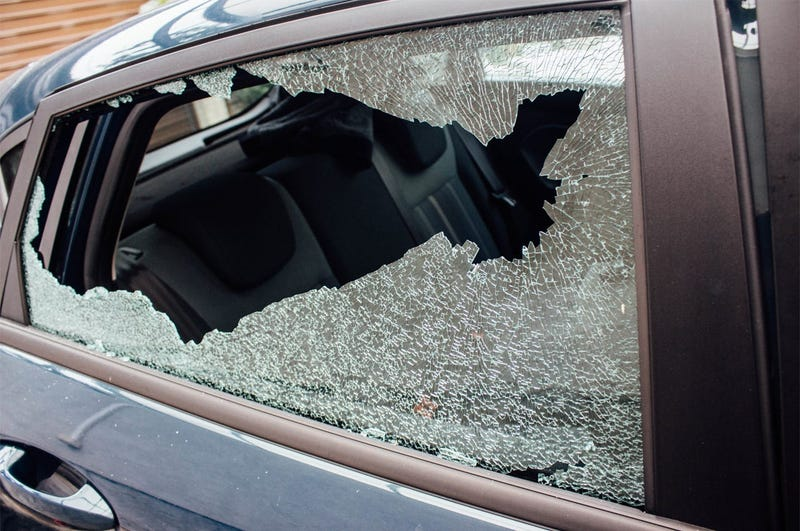 Broken window. Glass, damage. Car break-in