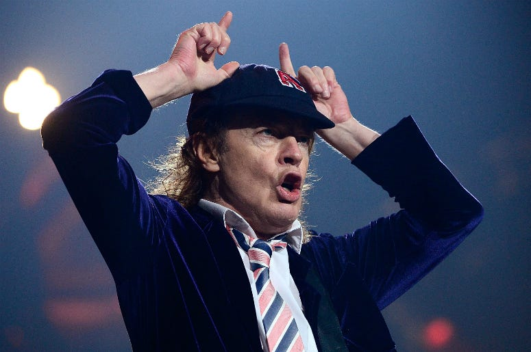 Angus Young performs with AC/DC during the Rock Or Bust Tour
