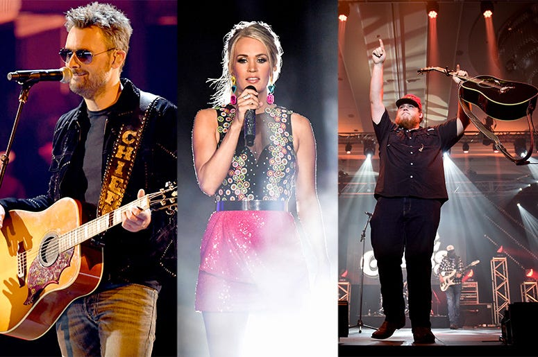 Eric Church, Carrie Underwood and Luke Combs