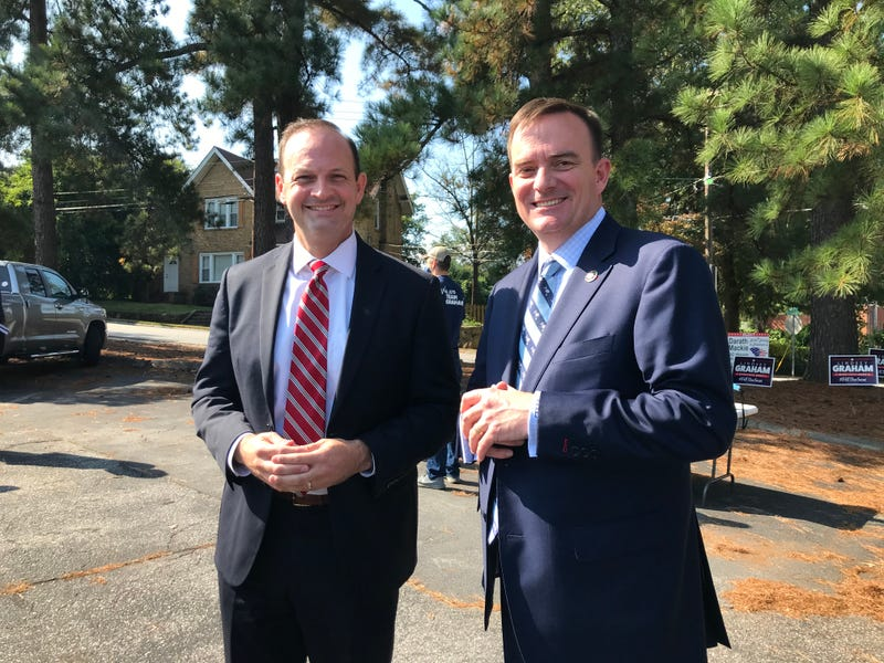 AG Alan Wilson (left) and Sheriff Hobart Lewis (right) after SCGOP's Back the Blue event