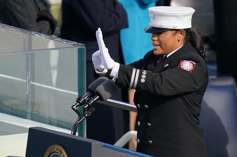 Capt. Andrea Hall delivers the pledge of allegiance during the inauguration of U.S. President-elect Joe Biden on the West Front of the U.S. Capitol on January 20, 2021