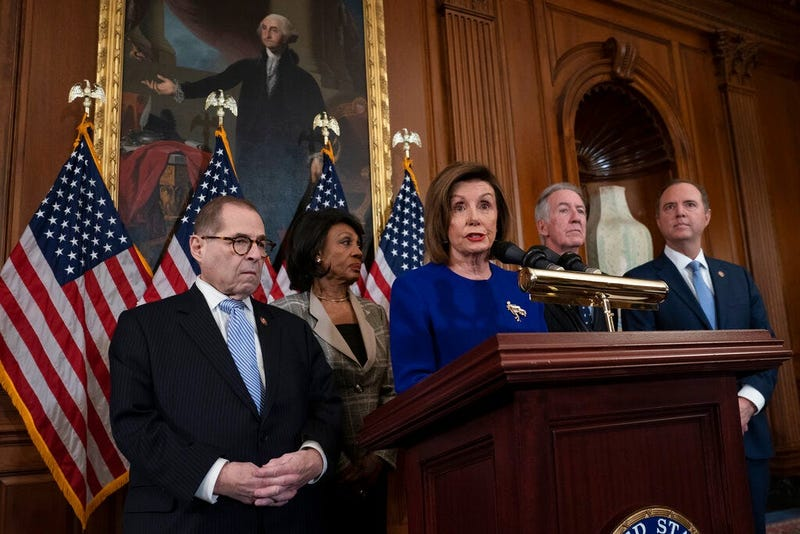 Speaker of the House Nancy Pelosi, D-Calif., joined from left by House Judiciary Committee Chairman Jerrold Nadler, D-N.Y., House Financial Services Committee Chairwoman Maxine Waters, D-Calif., House Ways and Means Committee Chairman Richard Neal, D-Mass