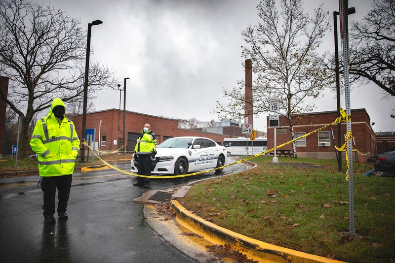 Veterans Affairs Police guard the entrance to a maintenance facility after an apparent steam explosion in a maintenance building at a Veterans Affairs hospital in West Haven, Conn., Friday