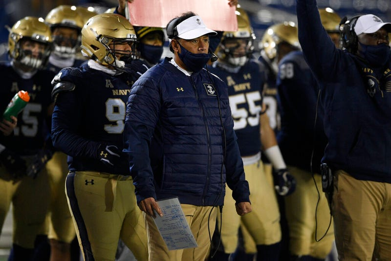 Navy head coach Ken Niumatalolo watches from the sidelines during the first half of an NCAA college football game against Tulsa, Saturday, Dec. 5, 2020, in Annapolis, Md.