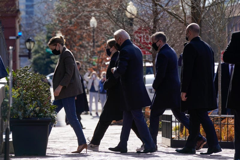 President Joe Biden arrives to attend Mass at Holy Trinity Catholic Church, Sunday, Jan. 24, 2021, in the Georgetown neighborhood of Washington.