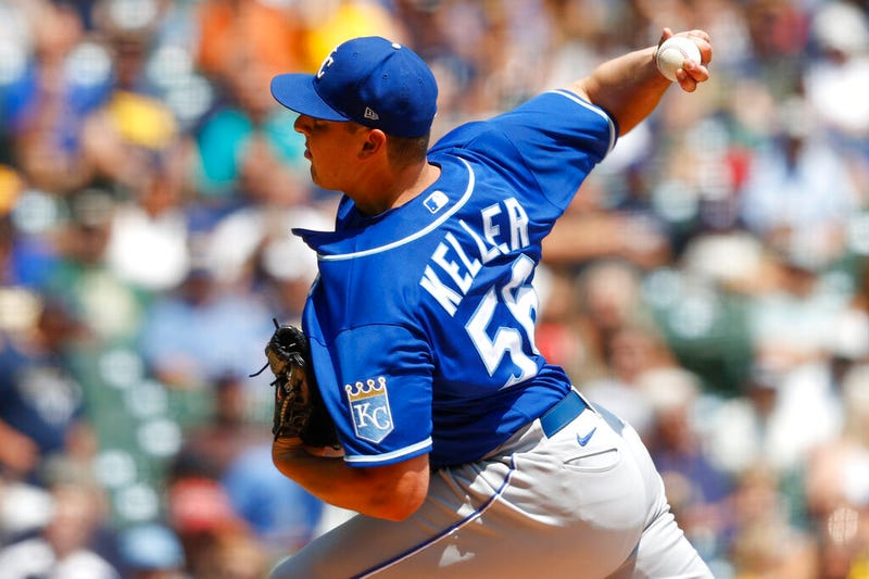 Kansas City Royals starting pitcher Brad Keller throws to the Milwaukee Brewers during the first inning