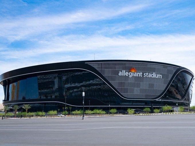 The exterior of Allegiant Stadium in Las Vegas, NV