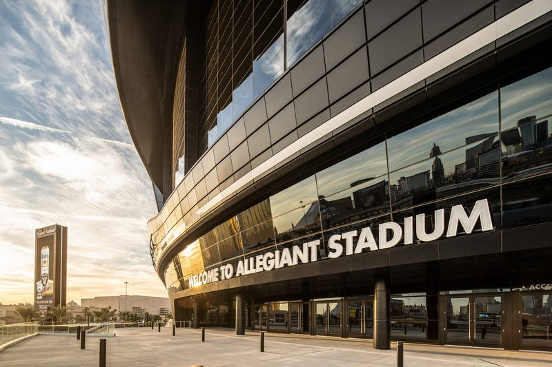 Exterior view of the entrance to Allegiant Stadium in Las Vegas, NV
