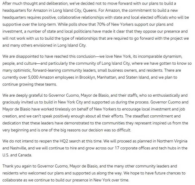Amazon statement pulling out of New York deal