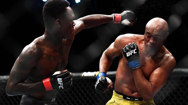 Anderson Silva dodges a punch from Israel Adesanya